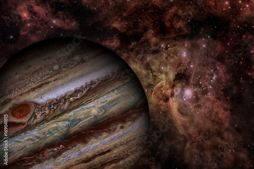Plexiglas Solar System - Jupiter. It is the largest planet in the Solar System. Elements of this image furnished by NASA.