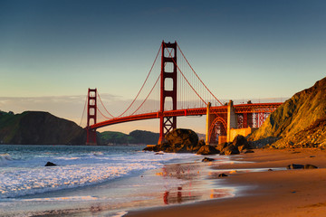 golden gate bridge - sunset baker beach