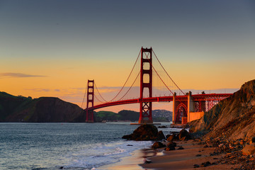 golden gate bridge - sunset - baker beach
