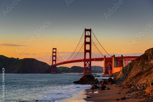 golden gate bridge - sunset - baker beach Poster