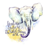 Watercolor elephant with handwritten inspiration phrase. African animal. Wildlife art illustration. Can be printed on T-shirts, bags, posters, invitations, cards, phone cases. - 169052838