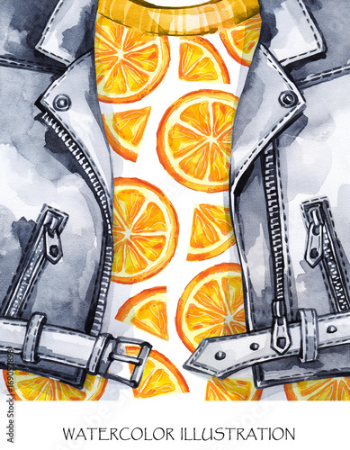 Watercolor illustration. Hand painted leather jacket with fresh orange. Healthy style. - 169052898