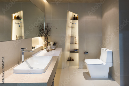 Modern interior of twin bathroom with sinks and toilet at home.