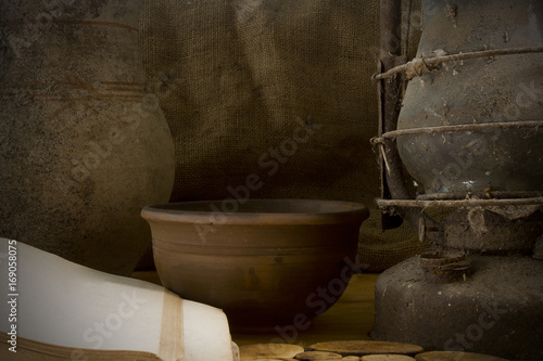 Vintage still life with pottery