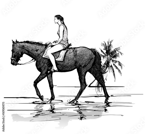 In de dag Art Studio Girl riding a horse on the beach