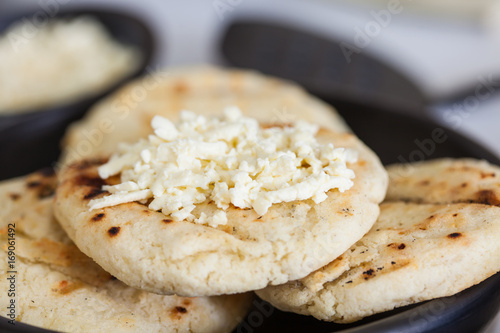Traditional Colombian white corn arepa with cheese Poster