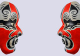 Half face of Traditional japanese theater masks  with copy space