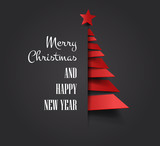 Merry christmas happy new year golden triangle tree low poly. christmas tree, design, vector illustration. Creative Christmas tree. Merry christmas greeting card. - 169076807