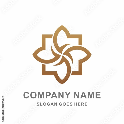 Geometric Square Cross Pattern Flowers Morocco Interior Motif Decoration Business Company Stock Vector Logo Design Template - 169078679
