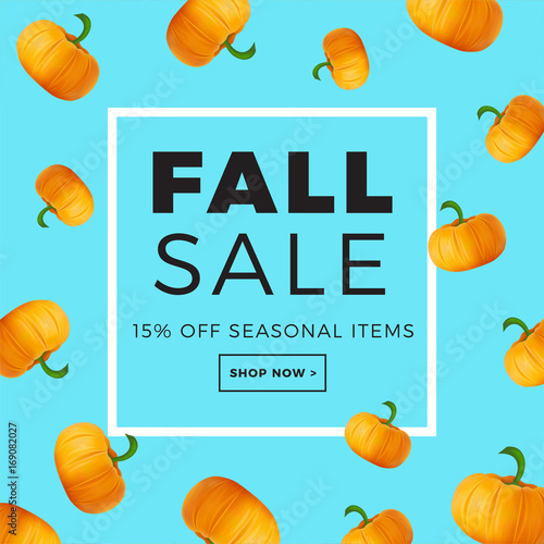 Foto op Plexiglas Turkoois Sale promotion web banner with autumn background. Promo fall season discount layout with pumpkin pattern. Vector seasonal discount template design.