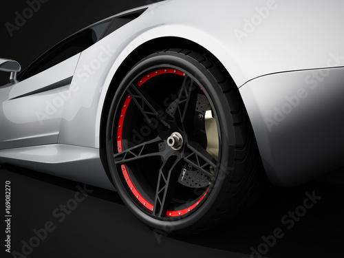 Silberner Konzept Sportwagen 3D Rendering
