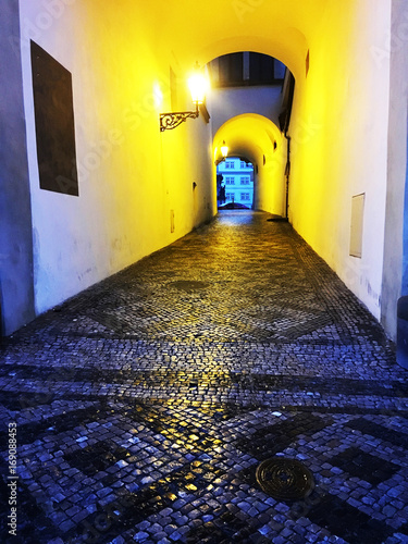 Foto op Canvas Smal steegje streets of Prague during the night walk