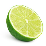 Ripe half of green lime citrus fruit isolated on white background. Lime half with clipping path