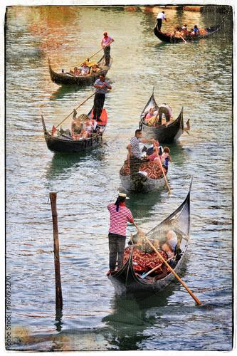 Fotobehang Freesurf Venice. Gondolas, artwork in painting style