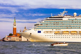 Huge cruise ship in the center of Venice, Grand canal. Italy
