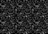 Back to school seamless pattern on black