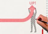矢印を上に向けるビジネスマンのシルエットとノートの背景 - 169097493