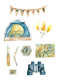 Watercolor camping set for designer's needs with tent, binocular, map, compass, pocket knife - 169097843