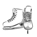 Vector hand drawn icon winter objects: skates - 169100480