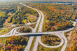 Canada, highway junction aerial view in autumn