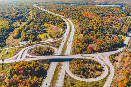 Foto op Plexiglas Canada Canada, highway junction aerial view in autumn
