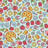 seamless pattern with pizza design elements - 169104238