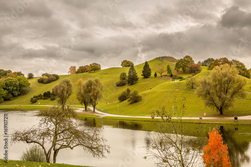 Fotobehang Honing Landscape with Green Trees and Grass just before the Autumn
