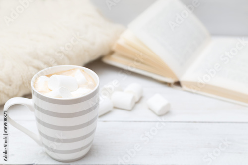 Foto op Canvas Chocolade Cup of hot chocolate with marshmallows on a white wooden background. Mock up