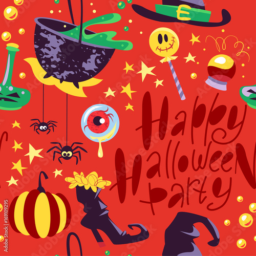 Cotton fabric Vector seamless Halloween pattern with magic traditional elements isolated - with hat, pumpkin, bat, stars, spooky, lettering etc. Good for advertising, media, cards design, packaging paper.