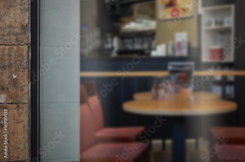 Coffee shop glass door mockup. Empty space on window for add logo