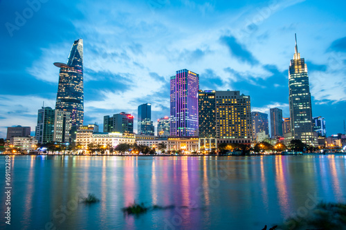Staande foto Athene Ho Chi Minh city at night