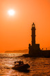 Picture of lighthouse sihoulette in the sunset