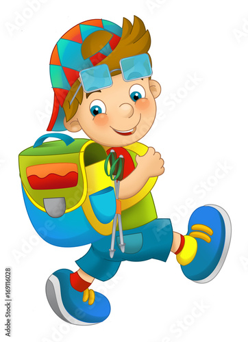 cartoon character young boy going on a trip - isolated - illustration for children - 169116028