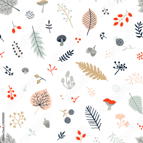 Materiał do szycia Seamless autumn pattern with leaves, berries, mushrooms and branches