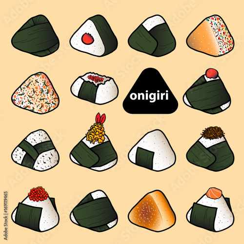 15 styles of isolated colorful onigiri on pastel red background. Japanese rice balls with nori seaweed in hand drawn style. - 169119465