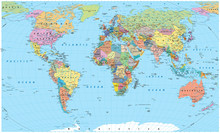 Colored World Map - borders, countries, roads and cities