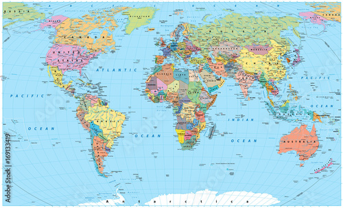 Fototapeta Colored World Map - borders, countries, roads and cities