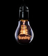 Hanging lightbulb with glowing Branding concept.