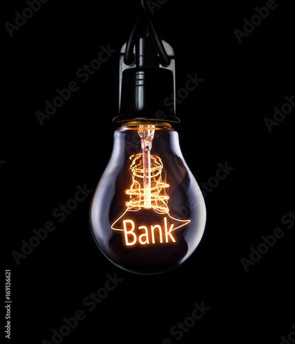 Hanging lightbulb with glowing Bank concept.