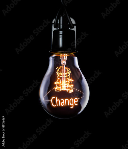 Hanging lightbulb with glowing Change concept.