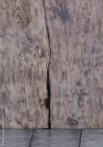 Old wooden wall and cement floor