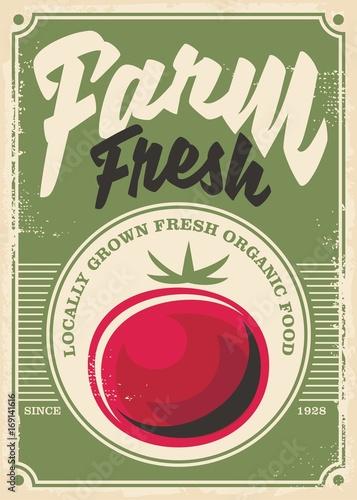 Fotobehang Vintage Poster Tomato farm vintage poster design