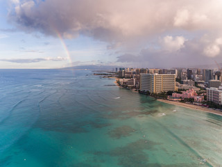 Aerial view of Waikiki beach with a Rainbow