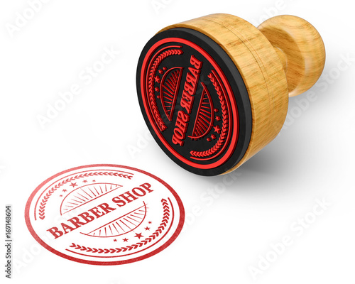 Barber Shop red grunge round stamp isolated on white Background