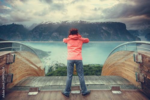 Tourist on Stegastein viewpoint, Norway