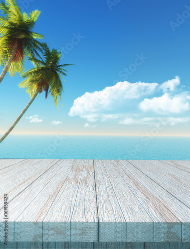 Fotobehang Pool 3D table looking out to a palm tree and sea landscape