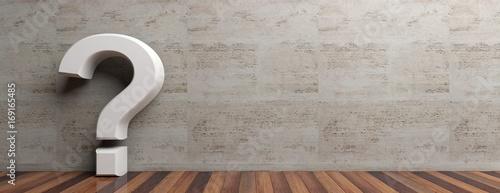 Leinwandbild Motiv Question mark on wooden floor and marble wall background. 3d illustration