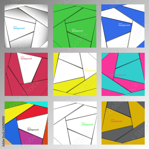 Fotobehang Abstractie Set of abstract vector backgrounds, made of straight lines