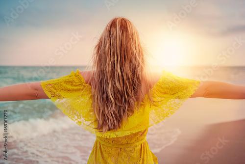 happy female on the beach