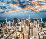 Aerial view of Downtown San Francisco skyline from helicopter, CA - 169174097